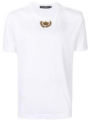 Футболка с декором в форме короны Dolce & Gabbana. Цвет: белый
