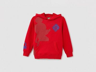 Толстовка с капюшоном принтом Микки Маус Benetton. Цвет: красный