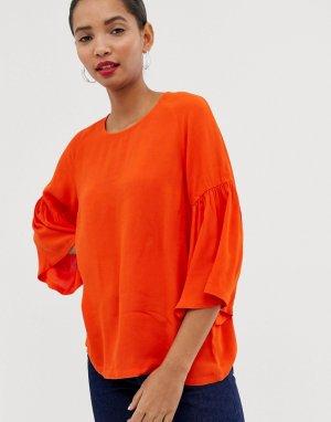 Блузка с расклешенными рукавами Garner-Оранжевый цвет Just Female