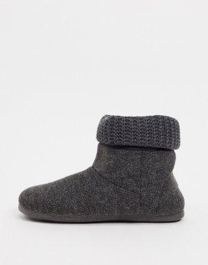 Вязаные ботинки-слиперы серого цвета -Серый Dunlop