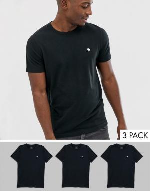 3 черных футболки с круглым вырезом и логотипом Abercrombie & Fitch. Цвет: черный