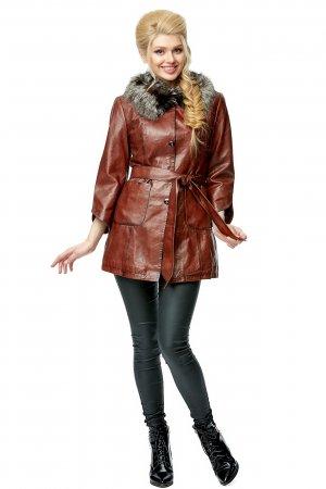 Женская кожаная куртка из натуральной кожи с воротником, отделка чернобурка МОСМЕХА