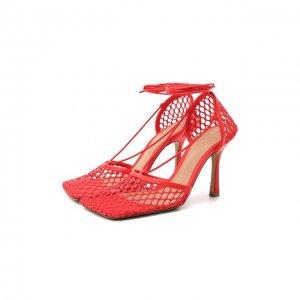 Текстильные босоножки Stretch Bottega Veneta. Цвет: красный
