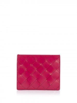 Картхолдер с плетением Intrecciato Bottega Veneta. Цвет: розовый