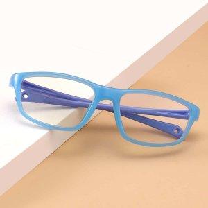 Детский Очки с защитой от синего света в геометрической оправе SHEIN. Цвет: синий