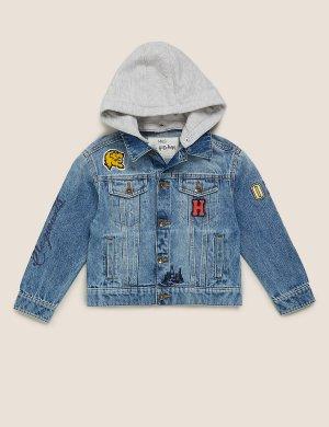 Джинсовая куртка Harry Potter ™ Hogwarts с капюшоном Marks & Spencer. Цвет: серый