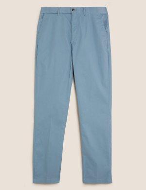 Легкие хлопковые брюки чинос Blue Harbour. Цвет: мягкий голубой