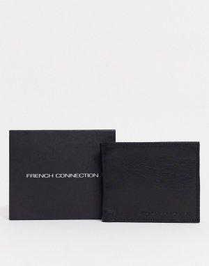 Черный классический кожаный бумажник French Connection