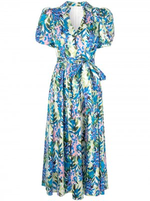 Платье с запахом и цветочным узором Badgley Mischka. Цвет: разноцветный
