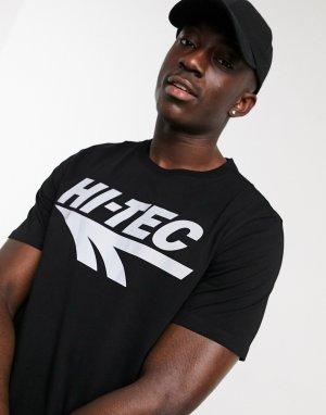 Черная футболка со светоотражающим логотипом -Черный Hi-Tec