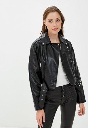 Куртка кожаная Pimkie. Цвет: черный