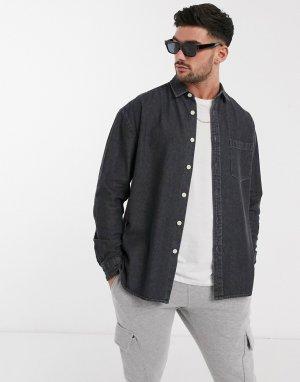 Свободная черная джинсовая рубашка из органического хлопка -Серый ASOS DESIGN