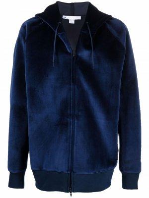 Бархатная куртка с капюшоном Y-3. Цвет: синий