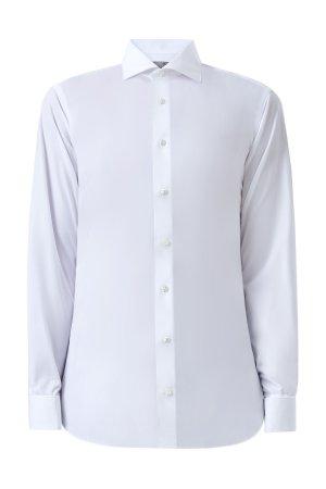 Белая рубашка Modern Fit с манжетами под запонки CANALI. Цвет: белый