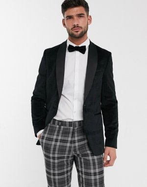Черный бархатный блейзер Burton Menswear