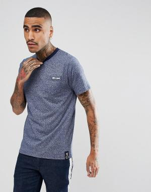 Темно-синяя меланжевая футболка с логотипом на кармане Gio Goi. Цвет: темно-синий