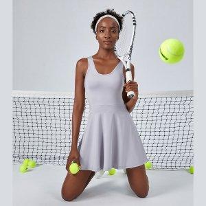 Платье с оборками Теннис SHEIN. Цвет: светло-серый