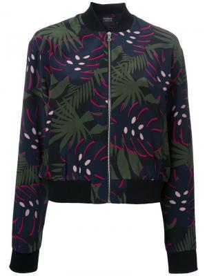 Куртка-бомбер с лиственным принтом Markus Lupfer. Цвет: многоцветный