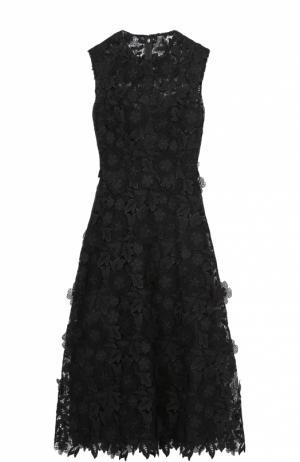 Приталенное кружевное платье с фактурной отделкой Valentino. Цвет: черный