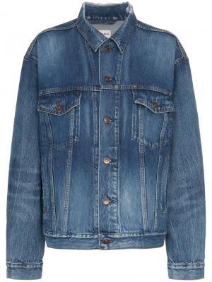 Джинсовая куртка с принтом логотипа Balenciaga. Цвет: синий
