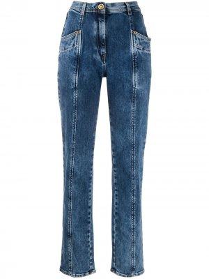 Зауженные джинсы со вставками Versace. Цвет: синий
