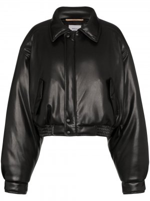 Короткая куртка-бомбер Nanushka. Цвет: черный