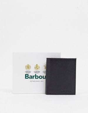 Черный компактный кожаный бумажник с отделкой в шотландскую клетку Colwell Barbour