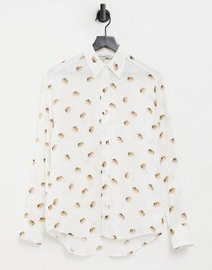 Белая рубашка со сплошным принтом ангелов и логотипом в винтажном стиле -Белый Fiorucci