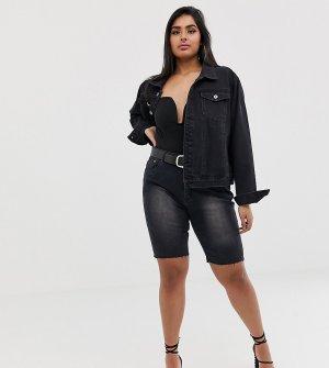 Длинные джинсовые шорты с необработанным краем -Черный Liquor N Poker Plus