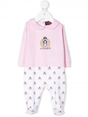 Комбинезон с длинными рукавами и логотипом Aigner Kids. Цвет: розовый