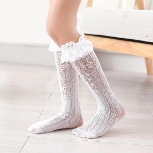 Носки выше голени с узором сердечка для девочек SHEIN. Цвет: белый