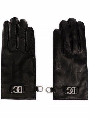 Кожаные перчатки с логотипом DG Dolce & Gabbana. Цвет: черный