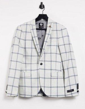 Белый пиджак с лацканами в крупную клетку SB1 Twisted Tailor