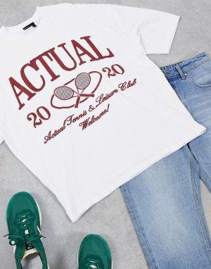 Белая свободная футболка в стиле oversized с принтом «теннис» -Белый ASOS Actual