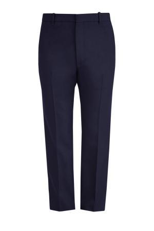 Классические брюки из шерстяного твила BALENCIAGA. Цвет: синий
