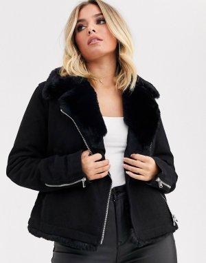Джинсовая куртка в байкерском стиле с воротником из искусственного меха -Черный ASOS DESIGN