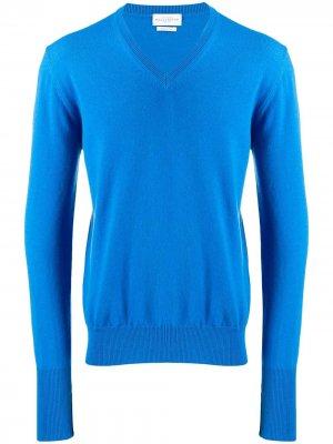 Трикотажный свитер с V-образным вырезом Ballantyne. Цвет: синий