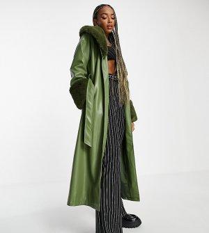 Удлиненный макинтош из искусственной кожи со съемным воротником искусственного меха шалфейно-зеленого цвета Inspired-Зеленый цвет Reclaimed Vintage