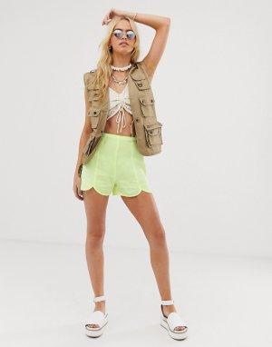Пляжные джинсовые шорты с разрезами спереди -Зеленый ASOS DESIGN
