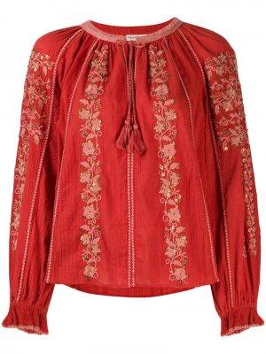 Блузка Rima с вышивкой Ulla Johnson. Цвет: оранжевый