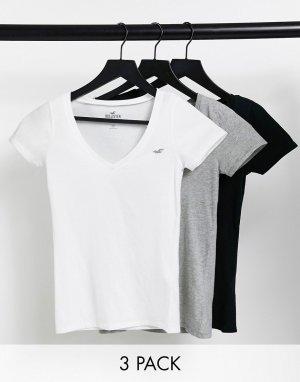 Набор из 3 разноцветных футболок с овальным вырезом и логотипом -Многоцветный Hollister