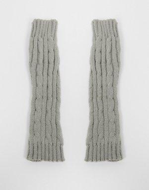 Серые меланжевые митенки в рубчик -Серый SVNX