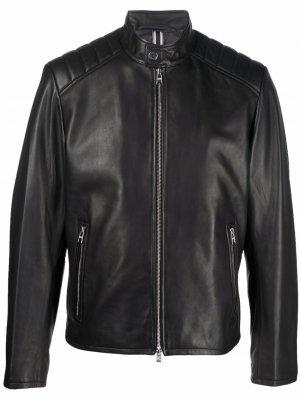 Байкерская куртка на молнии BOSS. Цвет: черный