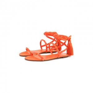 Замшевые сандалии Garavani Rockstud Flair Valentino. Цвет: оранжевый