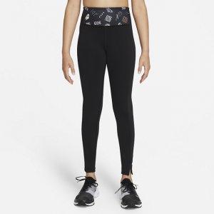 Леггинсы с принтом для девочек школьного возраста Dri-FIT One Luxe - Черный Nike