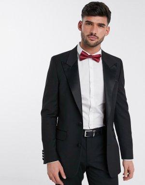 Черный облегающий пиджак-смокинг -Черный цвет ASOS DESIGN
