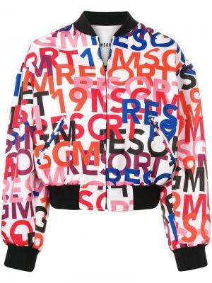 Куртка-бомбер с логотипом MSGM. Цвет: белый