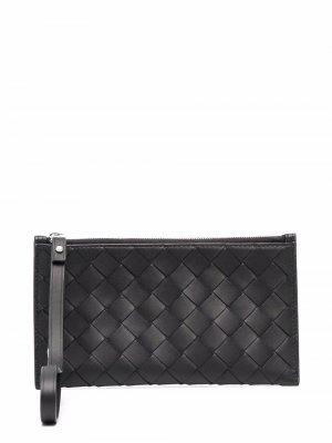Intrecciato leather wallet Bottega Veneta. Цвет: черный
