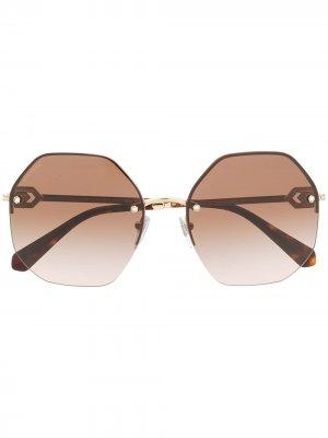 Круглые солнцезащитные очки с кристаллами Bvlgari. Цвет: золотистый