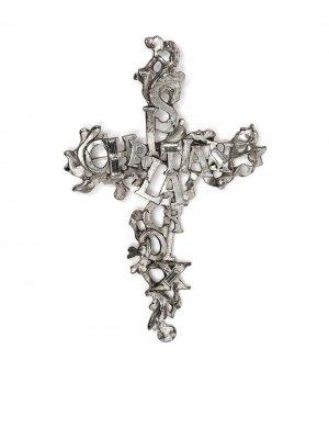 Брошь с логотипом Christian Lacroix Pre-Owned. Цвет: серебристый